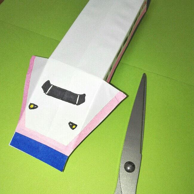 18折り紙新幹線【E4系】立体の簡単なな折り方|子供もにこにこ!