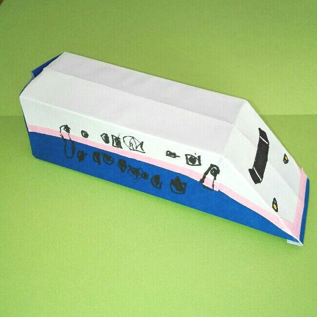 26折り紙新幹線【E4系】立体の簡単なな折り方|子供もにこにこ!