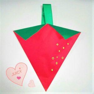 折り紙の折り方+苺バッグ 11
