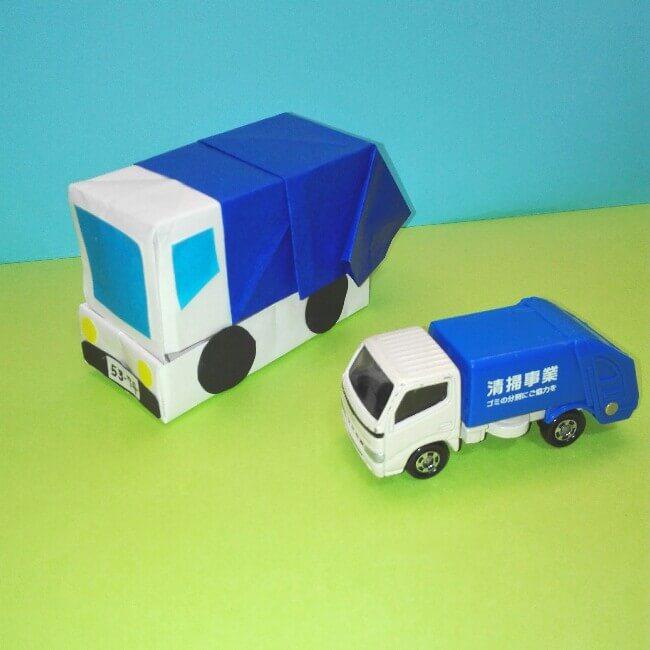 折り紙の折り方+ゴミ収集車(立体) 組立5-1