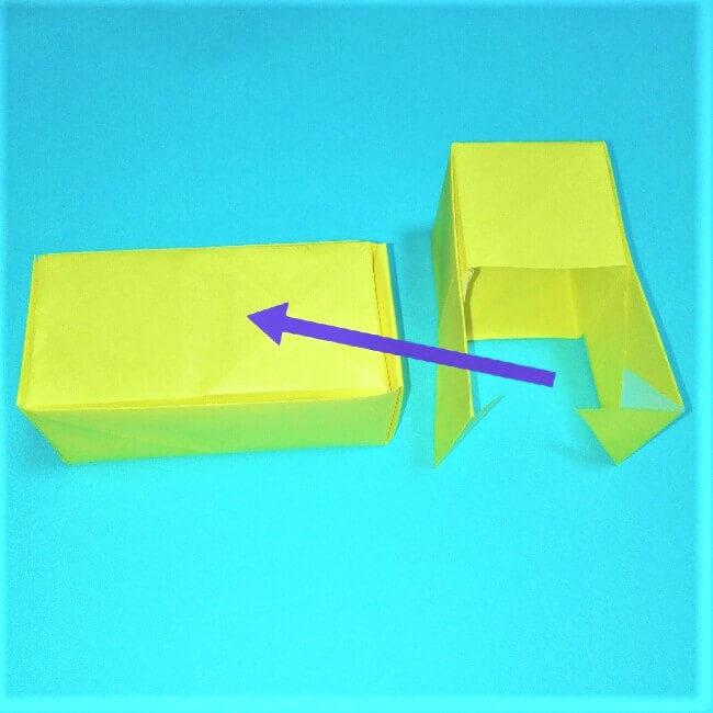 折り紙の折り方+立体ブルドーザー 組み立て3