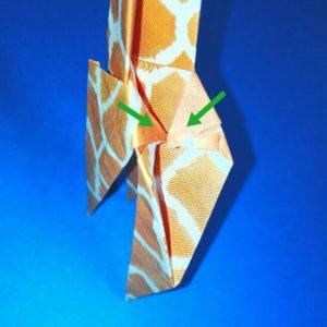 折り紙1枚「キリン」立体の折り方 13-1
