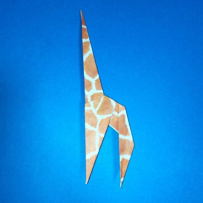 折り紙1枚「キリン」立体の折り方 13-2