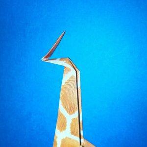 折り紙1枚「キリン」立体の折り方 15-1