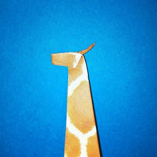 折り紙1枚「キリン」立体の折り方 15-2