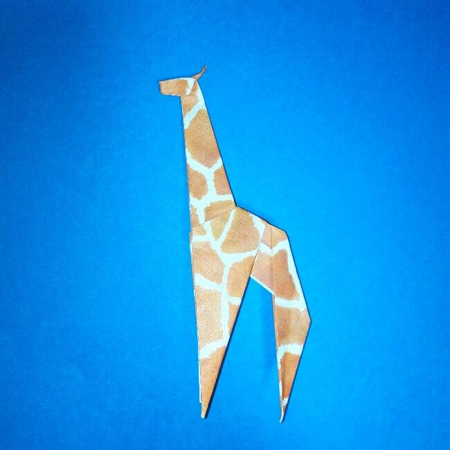 折り紙1枚「キリン」立体の折り方 16