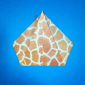 折り紙1枚「キリン」立体の折り方 3
