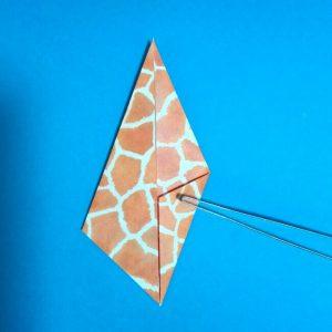 折り紙1枚「キリン」立体の折り方 6-1